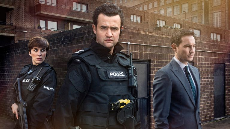 Daniel Mays (centre) with Vicky McClure and Martin Compston in series three of Line Of Duty. Pic: BBC/World Productions/Steffan Hill/Mikel Gascon