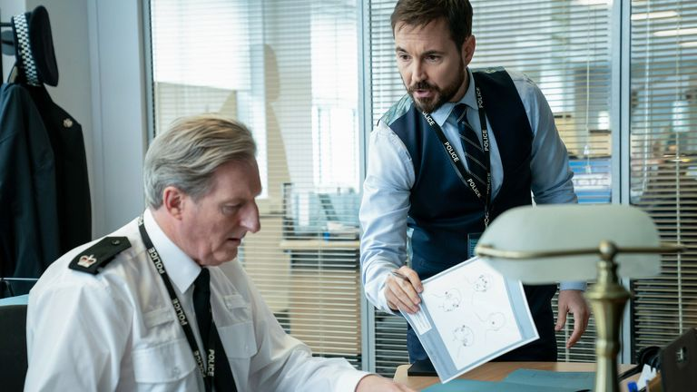 Superintendent Ted Hastings (Adrian Dunbar), DS Steve Arnott (Martin Compston) in series six of Line Of Duty. Pic: BBC/World Productions/Steffan Hill