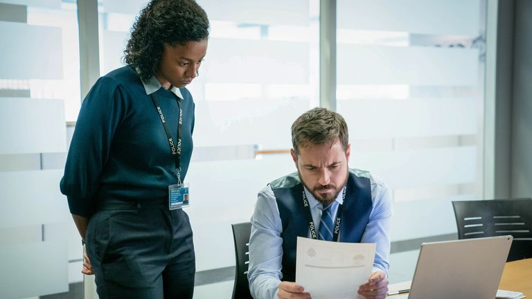 DC Chloe Bishop (Shalom Brune-Franklin) DS Steve Arnott (Martin Compston) in Line Of Duty series six. Pic: BBC/World Productions/Steffan Hill