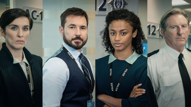 Line Of Duty: DI Kate Fleming (Vicky McClure), DS Steve Arnott (Martin Compston, DC Chloe Bishop (Shalom Brune-Franklin), Superintendent Ted Hastings (Adrian Dunbar). Pic: BBC/World Productions/Aidan Monaghan/Steffan Hill