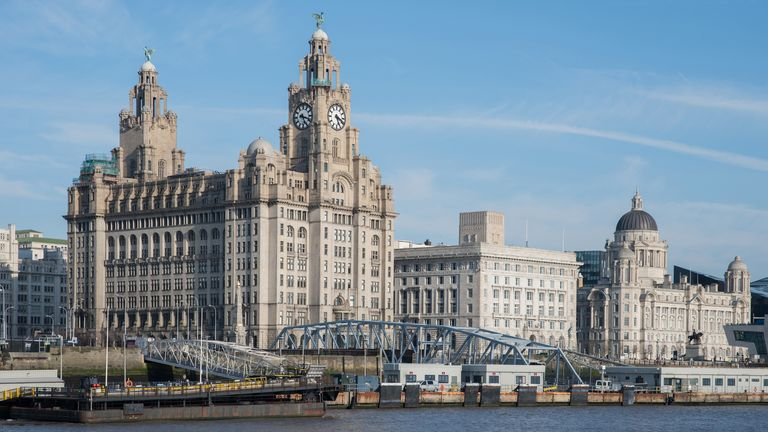 Views of the Royal Liver Building, Cunard Building and the Port of Liverpool Building.