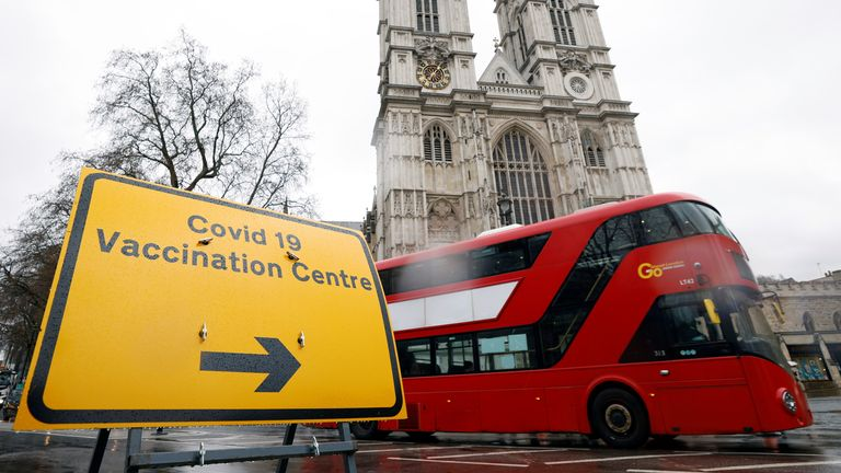 A sign is seen outside a vaccination centre at Westminster Abbey