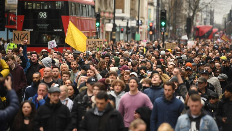 Thousands of people marched down Oxford Street on Saturday