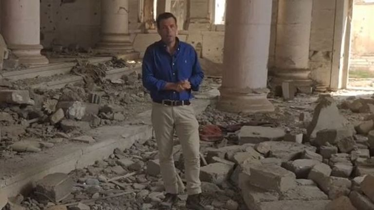 Mark Stone looks around the ruins of a church in Mosul ahead of historic Pope visit