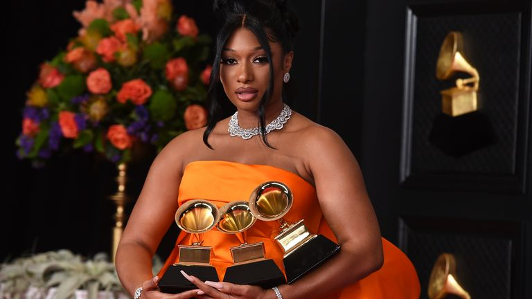 Megan Thee Stallion scored three wins at this year's Grammys. Pic: Jordan Strauss/Invision/AP
