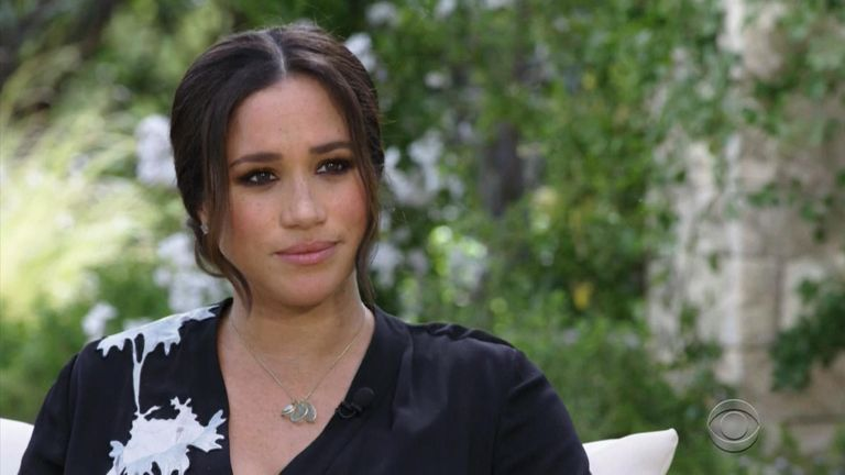 Meghan during her interview with Oprah. Pic: CBS