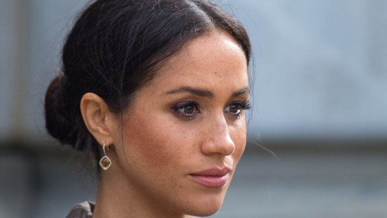 Meghan, Duchess of Sussex during a visit to view the newly unveiled UK war memorial and Pukeahu National War Memorial Park, in Wellington