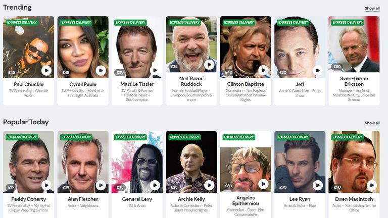 Celebrities sell personalised videos on the website Memmo. Pic: Memmo