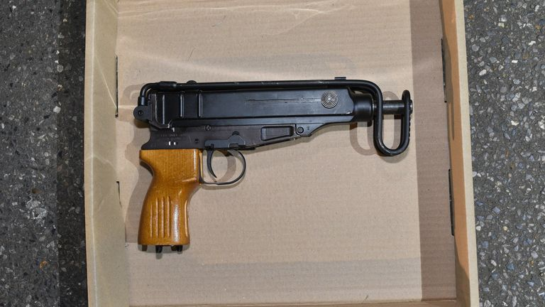 Two Scorpion machine guns and 40 rounds of ammunition were seized after a 19-year-old man was arrested near Chiswick Park tube station on 2 March. Pic: Met Police
