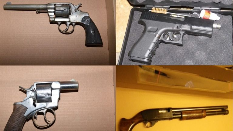 More than two dozen suspected firearms were seized in a week across London in February. Pic: Met Police