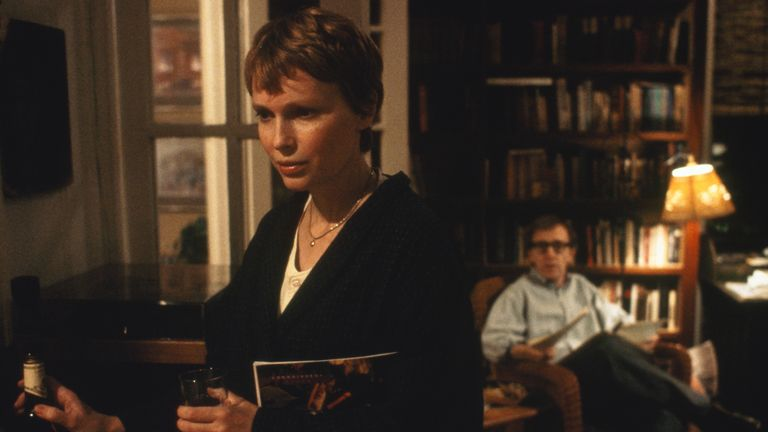 Mia Farrow as Judy Roth and Woody Allen as Gabe Roth in Husbands And Wives. Pic: TriStar Pictures/ Sky UK
