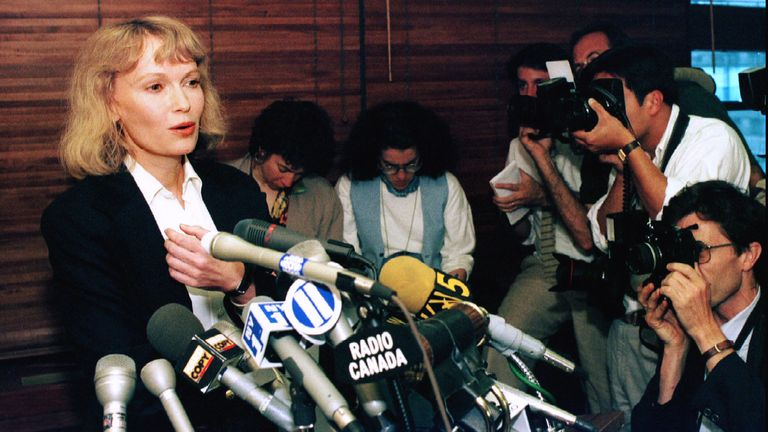 Mia Farrow pictured at a press conference in New York in 1993 after being awarded custody of her three children with Woody Allen