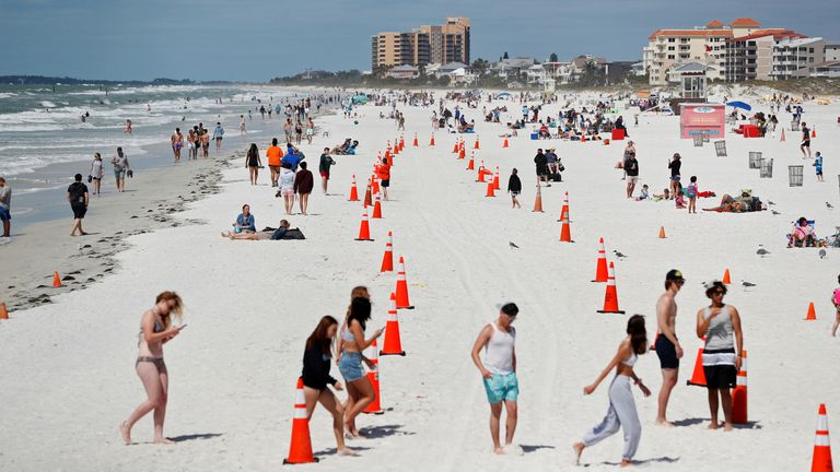 Cones laid out on Clearwater Beach as part of social distancing measures