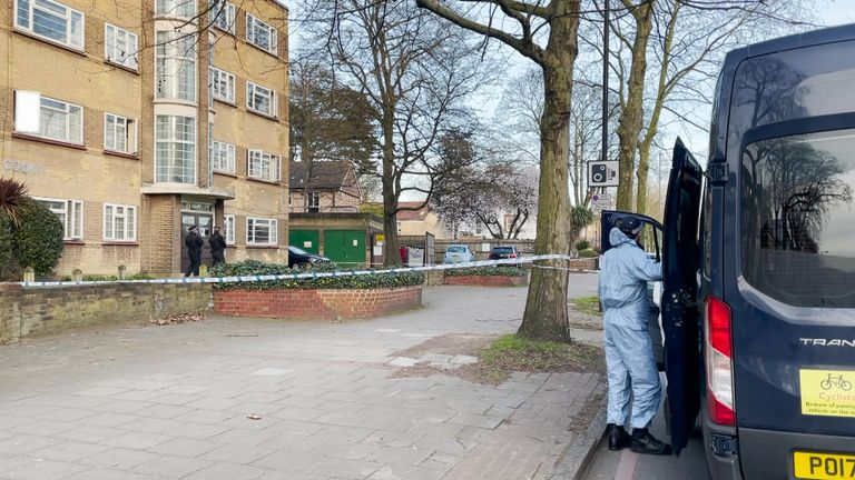 Two officers with sniffer dogs were seen searching outside the nearby Oaklands Estate