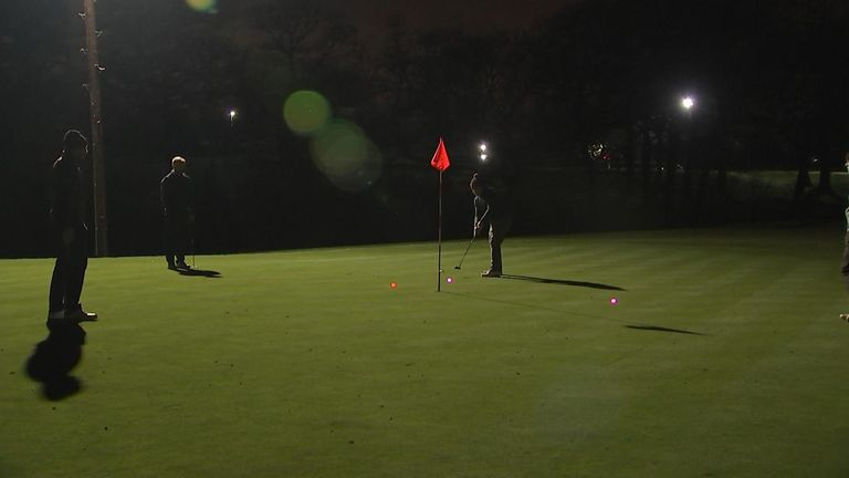 Golfers at Morley Hayes Golf Club, near Derby, got back into the swing just after midnight using glowing balls