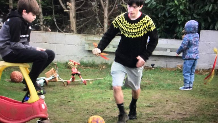 Nico, 15, plays football