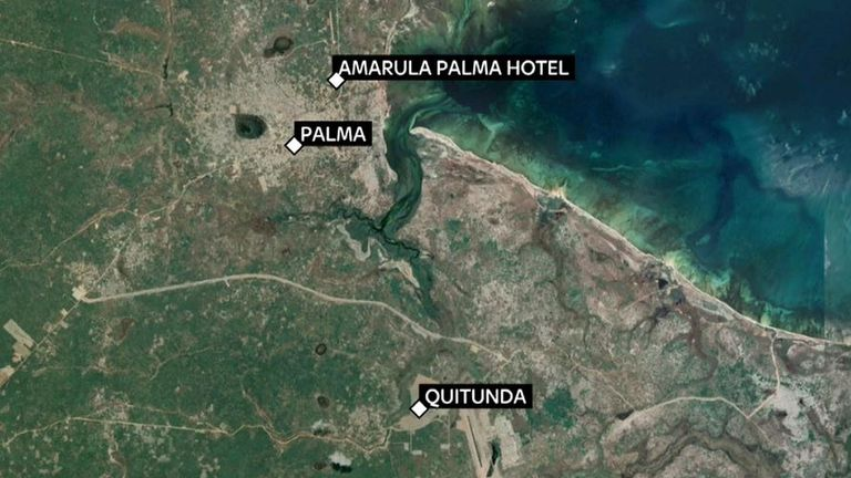 Dozens have been trapped inside a hotel in the town of Palma, which has been under attack by militants since Wednesday