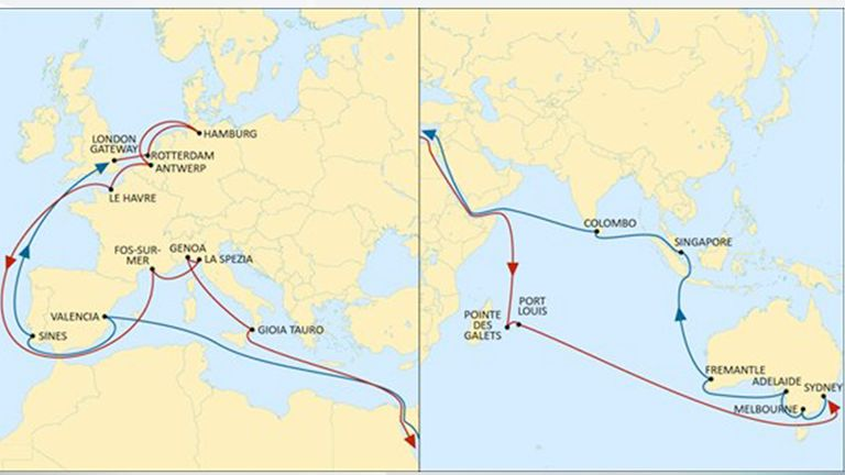 This map from MSC's website shows the routes taken by ships on the Australian Express service. Credit: MSC