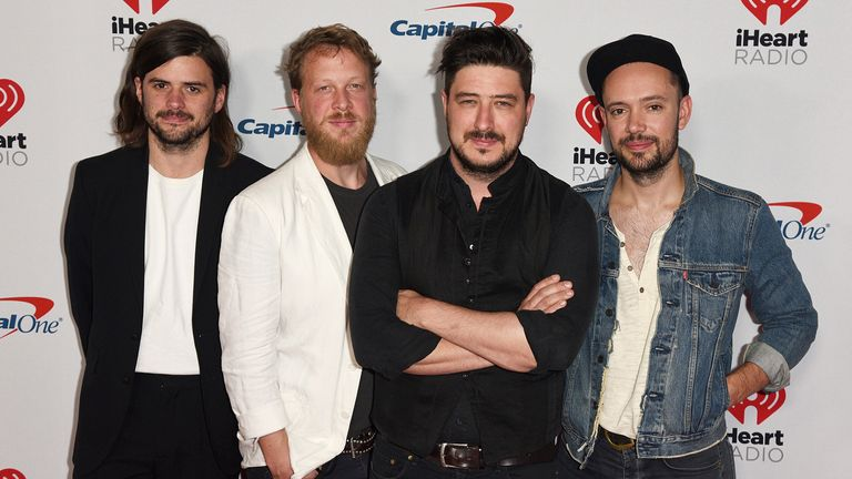 Ben Lovett, Marcus Mumford, Winston Marshall and Ted Dwane of Mumford & Sons at the iHeartRadio Music Festival in Las Vegas in 2019. Pic: AP/imageSPACE/MediaPunch/IPx