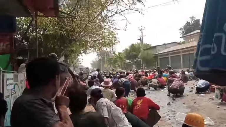 Protesters stay low in Myaing on Thursday - when eight people are said to have been killed in the town