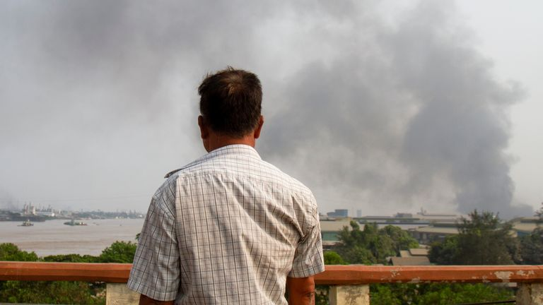 Smoke believed to be seen coming from a factory fire during another crackdown on anti-coup protesters in Yangon