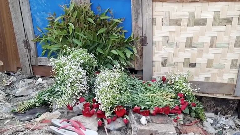 Flowers at the funeral for Tun Tun Aung, 15, who was killed in his hut when security forces opened fire, in Mandalay. Pic: RADIO FREE ASIA/via REUTERS