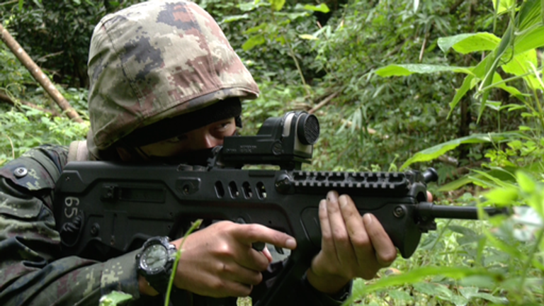A Thai soldier on patrol for drug smugglers on the Thailand/Myanmar border