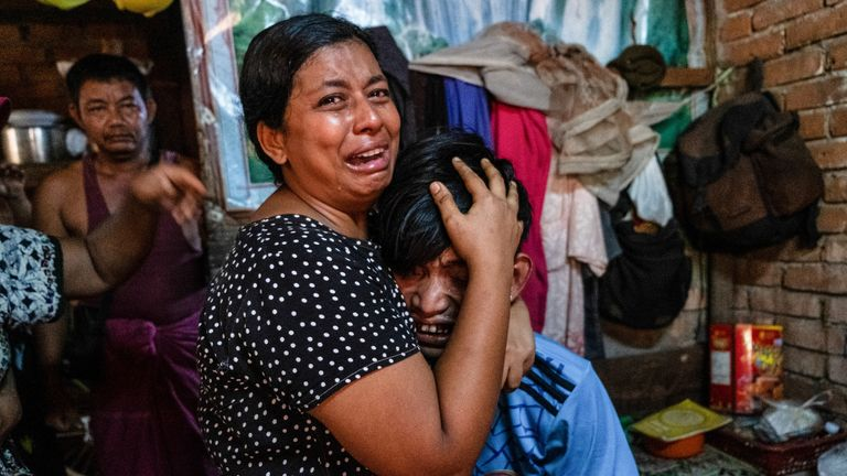 Relatives of a man who was shot dead during a crackdown on anti-coup protesters in Yangon