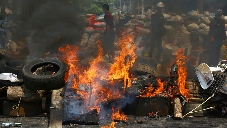 Heavy clashes erupted during demonstrations in Yangon on Sunday 28 March