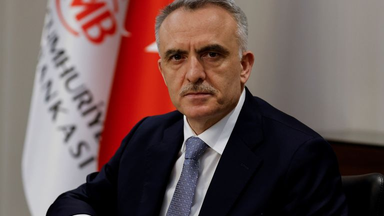 FILE PHOTO: Turkey's Central Bank Governor Naci Agbal poses during an interview with Reuters in his office in Istanbul, Turkey, February 4, 2021