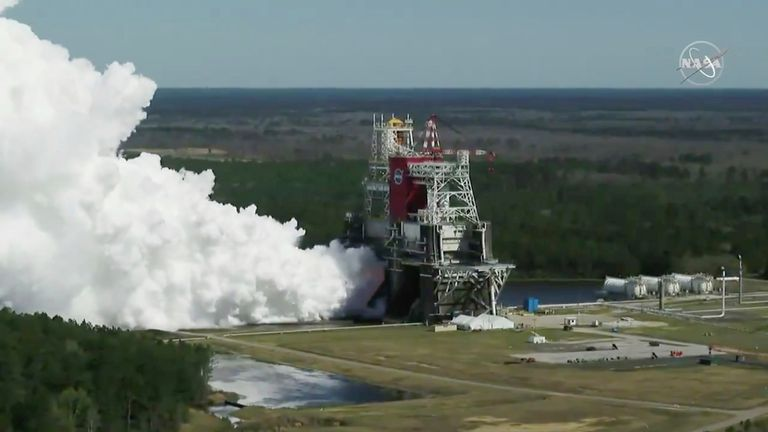 In this image from video made available by NASA, the core stage of the Space Launch System, NASA's planned moon rocket, is tested at the Stennis Space Center near Bay St. Louis, Miss., on Thursday, Mar. 18, 2021. Pic: AP