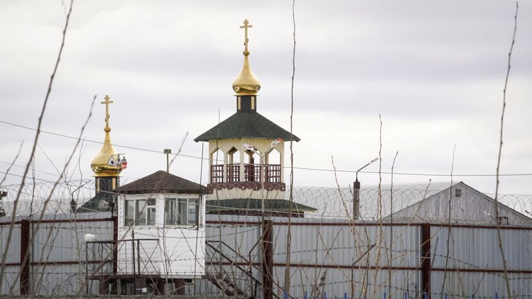 File picture of a tower at the prison where Alexei Navalny is being held