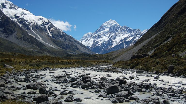 Mount Cook in New Zealand. Global warming continues to speed up the loss of glaciers, say experts. Pic: Lee Brown