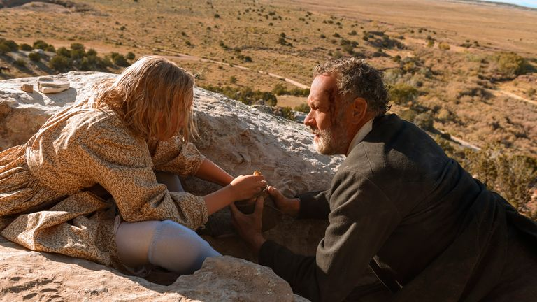 Johanna Leonberger (Helena Zengel) and Captain Jefferson Kyle Kidd (Tom Hanks) in News of the World. Pic: Bruce W Talamon/Universal Pictures/Netflix