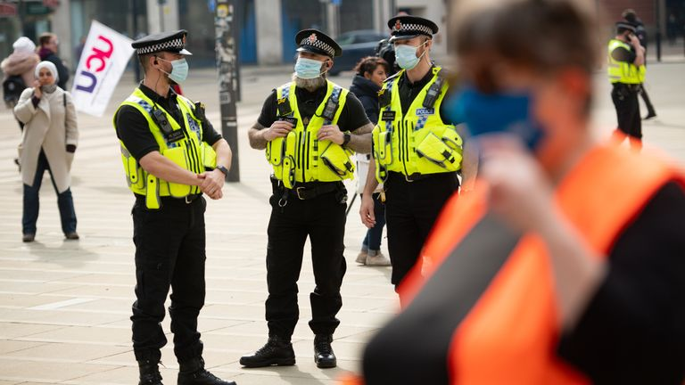Police broke up the protest in Manchester over the proposed 1% pay rise for NHS workers