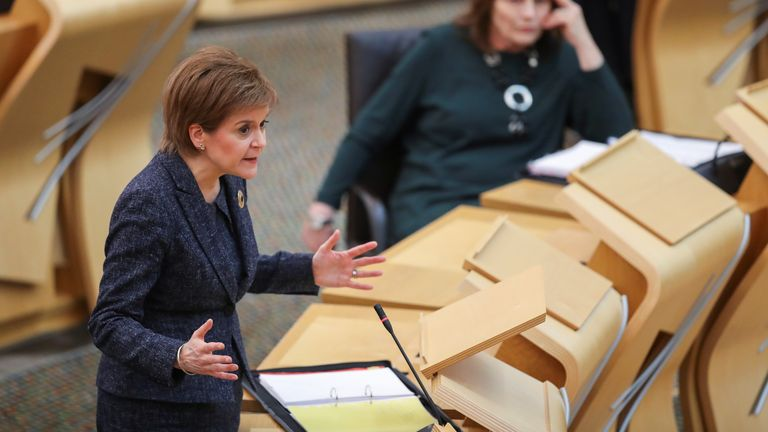 First Minister Nicola Sturgeon during First Minister's Questions at the Scottish Parliament in Holyrood, Edinburgh. (Russell Cheyne/PA)