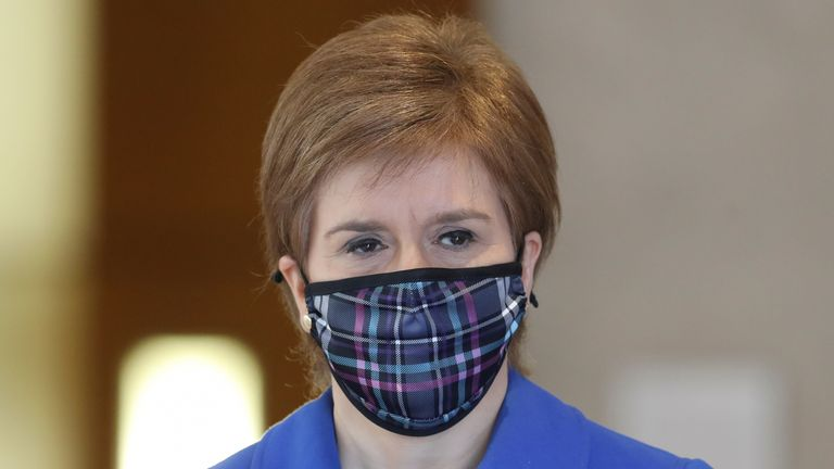 First Minister Nicola Sturgeon arrives at the Scottish Parliament in Edinburgh to update MSPs on any changes to the Covid-19 restrictions in Scotland