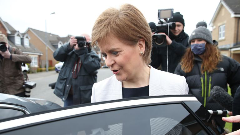 Nicola Sturgeon, seen leaving home on Monday, has been cleared of breaching the ministerial code