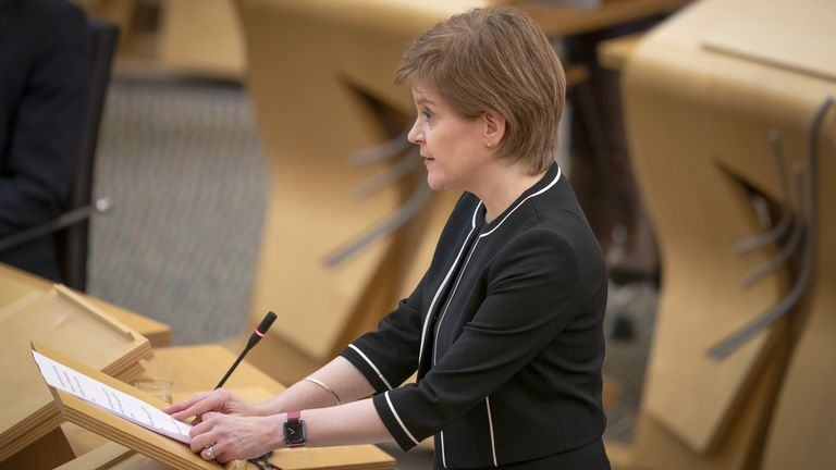 First Minister of Scotland, Nicola Sturgeon, during a Covid briefing at the Scottish Parliament in Holyrood