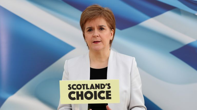 First Minister Nicola Sturgeon, leader of the Scottish National Party, rehearses her SNP campaign speech