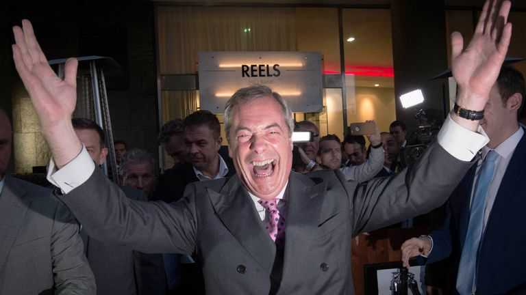 Nigel Farage celebrates the Brexit referendum result at a Leave.EU party