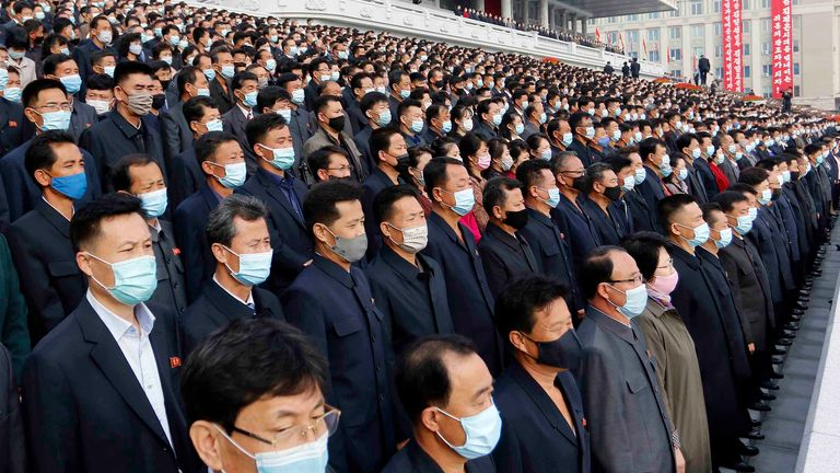 People wear face masks in the North Korean capital Pyongyang in December 2020. Pic: AP