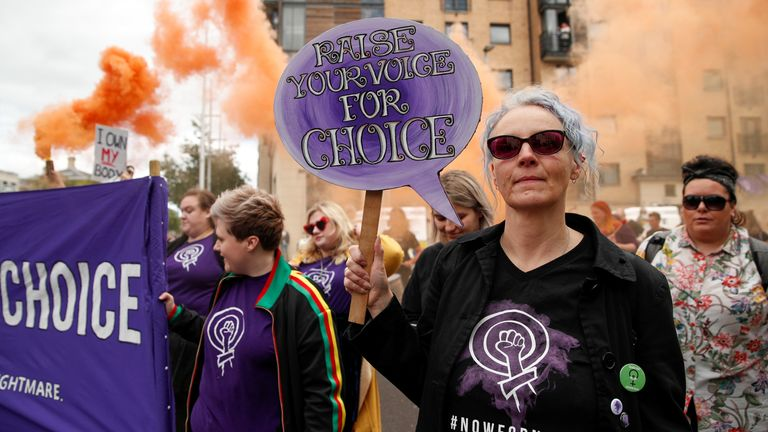 Northern Irish women marching for the choice to have abortions in 2019 - that was granted in 2020 but services have not been set up yet