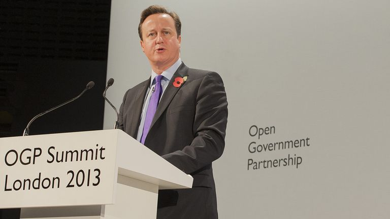 David Cameron addressing the Open Government Partnership summit in 2013