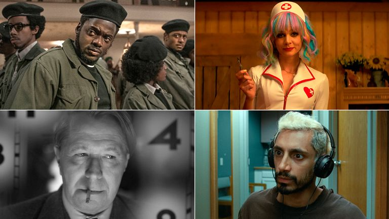 Clockwise from top left: Daniel Kaluuya in Judas And The Black Messiah, Carey Mulligan in Promising Young Woman, Riz Ahmed in Sound Of Metal, Gary Oldman in Mank. Pics: Warner Bros/Focus Features/Amazon Studios/Netflix
