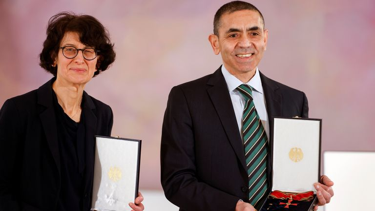German scientists, CEOs and founders of BioNTech, Ozlem Tureci and Ugur Sahin receive the Order of Merit in Berlin