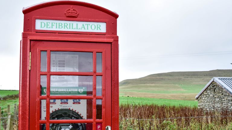 A phone box which has been turned into a defibrillation station in the Orkney Islands