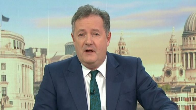 Piers Morgan on GMB following the Meghan and Harry Oprah interview. Pic: ITV/Shutterstock