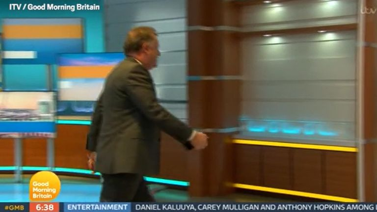TV OUT. ALL BROADCAST WEBSITES OUT. No cropping permitted. MANDATORY CREDIT: ITV. We are advised that videograbs should not be used more than 48 hours after the time of original transmission, without the consent of the copyright holder. Video grab taken from ITV of presenter Piers Morgan walking off set during a discussion about the Duchess of Sussex with his colleague, Alex Beresford, the morning after the UK broadcast of the Duke and Duchess of Sussex interview with Oprah Winfrey. Issue date: