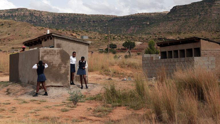 Pit latrines are seen at a school in Ghoboshiyane village, South Africa, March 17, 2021.I (AP Photo)